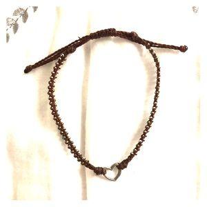 Brown Heart Cord Bracelet